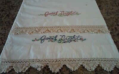 Vintage Hand Embroidered Pillowcases Crochet Edges Outstanding Pair - Goodnight