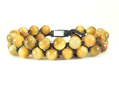 Men's Gold Natural Tiger Eye Gemstone 2-Row Beaded Silver Jewelry Wrap Bracelet