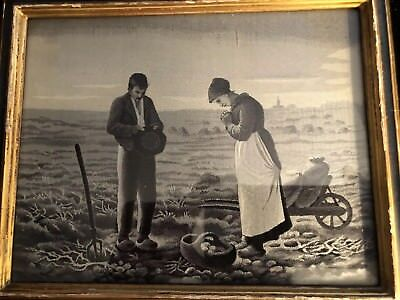 Pr.French Silk Jacquard Woven Picture of workers in field praying and harvesting