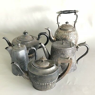 Job Lot of 5 x antique old silver plate tea pots - grubby filthy need cleaning