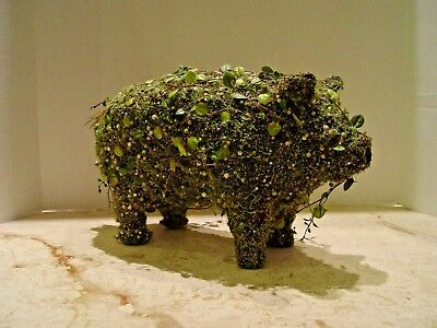 Faux English Green Vine Pig Topiary