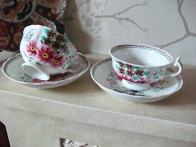 Pair Antique Gaudy Welsh Floral And Lustre Cups & Saucers