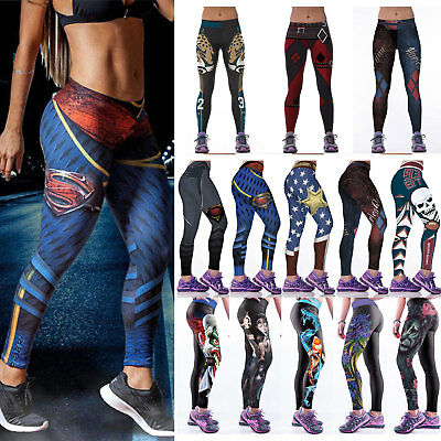 Women Sports Yoga Pants Leggings Running Gym Ladies Workout 3D Print Trousers UK