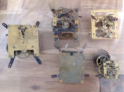 Antique Clock Movements Untested For Repair Or Spare Parts