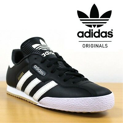 differently f9a3f 28386 adidas Originals Samba Super Mens Trainers Black Leather Retro Football  Sneakers