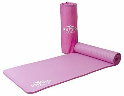 PhysioWorld Premium Exercise Mat with Carry Bag - 10mm Pink