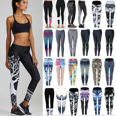 Women Fitness Yoga Leggings Run Gym Athletic Sport High Waist Pants Trousers UK