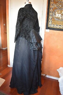 Robe Ancienne 1880 Napoleon Iii Antique Victorian Edwardian Dress Bodice Corset