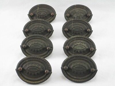 Antique Brass Federal Art Nouveau Hepplewhite Dresser Drawer Pulls 8 pc. Used