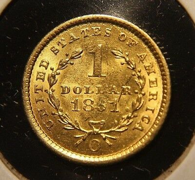 1851-O Gold $1 Dollar AU+ New Orleans  MINT LUSTER Almost Uncirculated