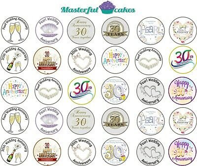 30 X Pearl Wedding Anniversary Edible Cup Cake Toppers Rice Paper And Icing