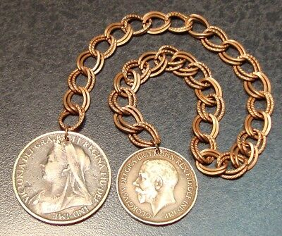 Vintage Double Copper Chain Book Marker With Two Older British Coins