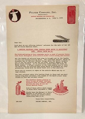 1930 Pulver Vending Machines Chewing Gum Yellow Kid Comic Character Letterhead
