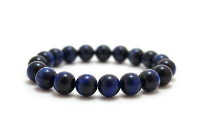 Mens Beaded Bracelet Blue Tiger Eye Gemstone Beaded Jewelry Stretch Wristband