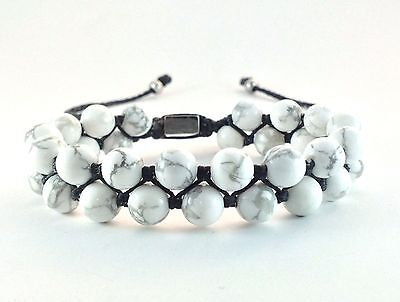 Natural Howlite Gemstones Double Layer Bead Adjustable Jewelry Wrap Bracelet
