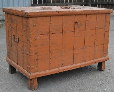 Large Eastern Dowry Chest Blanket Box Trunk Coffer Iron Straps Solid Hardwood