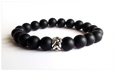 Mens Matte Black Onyx Gemstone Beaded Silver Knot Bead Jewelry Stretch Bracelet