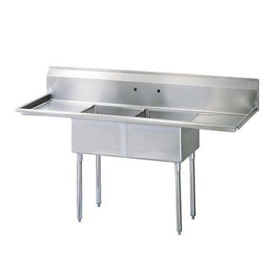 Turbo Air - TSB-2-D2 - 96 in Two Compartment Sink w/ 24 in Drainboards