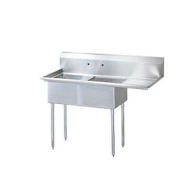 Turbo Air - TSB-2-R2 - 75 in Two Compartment Sink w/ 24 in Right Drainboard