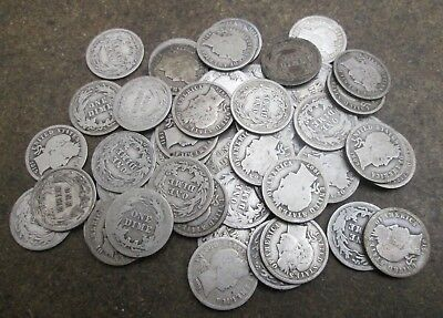 50 Barber Silver Dimes Mixed Dates Good or Better Condition No Reserve