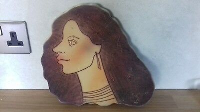 Unusual..wall Plaque..woman's Face..bizarre Piece..very Strange..pottery..wall