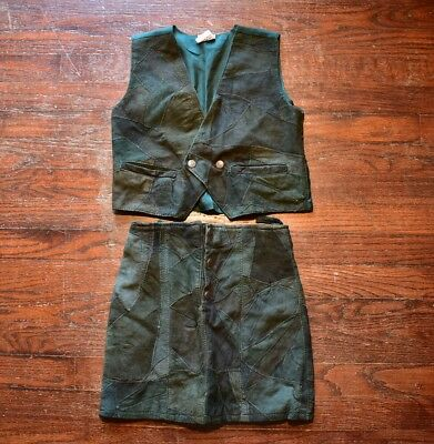 VINTAGE 70's MISS LANA GIRLS 7/8 TWO PIECE VEST & SKIRT SUIT GREEN SUEDE