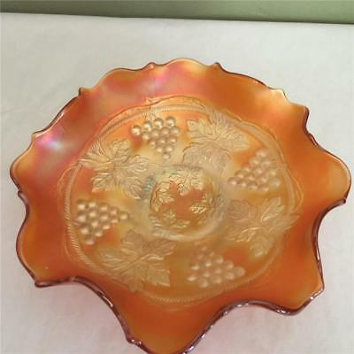 Antique Fenton Grape & Cable Pattern Marigold Lowfooted Carnival Glass Bowl Dish