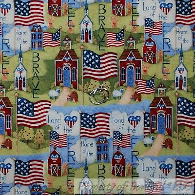 BonEful FABRIC FQ Cotton Quilt American Flag S Country Home Heart Star Patchwork