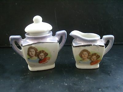 Princess Elizabeth & Margaret 1930's china dolls mil jug & sugar bowl-A/F