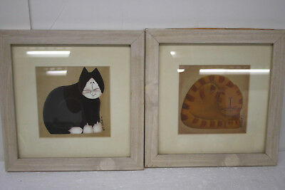 Happy Stripped Cats set of 2 Framed Pictures signed by artist Fiddlestix