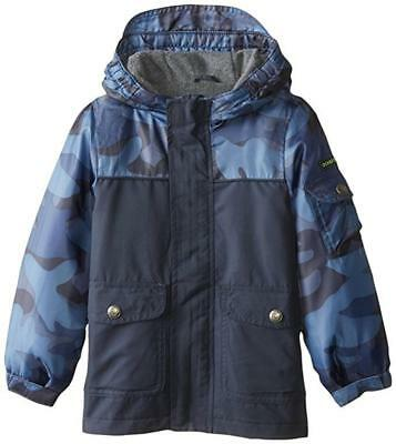 Osh Kosh B'gosh Boys Blue Camo Fleece Lined Jacket Size 4 5/6 7