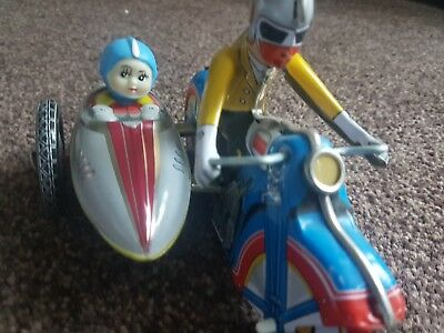 Motorcycle With Sidecar Clockwork Tin Toy (MS 709) Vintage