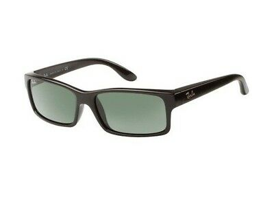 Ray-Ban RB4151 Polarized Square Sunglasses w/Green Lenses & Glossy Black Frame