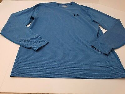 Under Armour Cold Gear Long Sleeve V-Neck Fitted Blue Striped Men's Sz 2XL NWOT