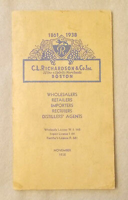 1938 WINE BEER SPIRITS Trade Catalogue WITH PRICES ~ C.L. Richardson LIQUOR