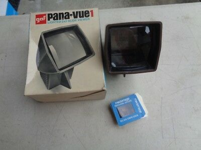 "Vintage GAF Pana-Vue 1 Lighted 2"" x 2"" Slide Viewer with Box and Slides"