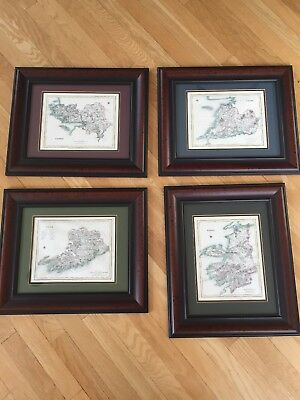 4 Double Matted Framed Maps,Irish Counties:Kerry, Galway,Clare,Cork,Lot
