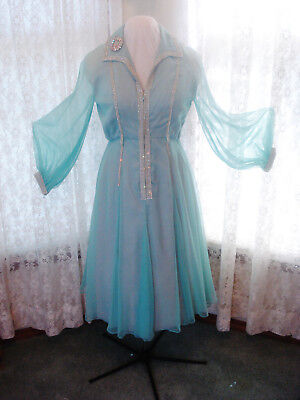 Ladies Vintage 50's Aqua Blue & Rhinestone Chiffon Cocktail Dress-Sheer Sleeves