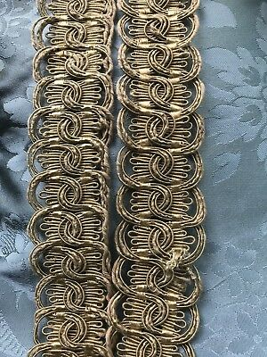 """3 pieces Antique French faded Golds silk cotton trim edging passmenterie 2"""" wide"""