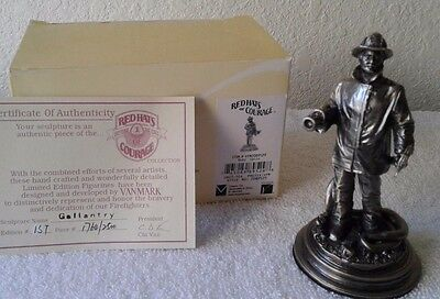 Firefighter Red Hats Gallantry Pewter Sculpture, Limited Edition 2500 Made