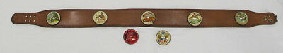 Vintage Roger Van S SIGNED Leather Belt Equestrian Horse Bridle Button Pins yqz