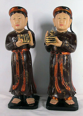 Vietnam Indochina Carved Wood Buddhist Attendants Bearers Temple Statues NR yqz