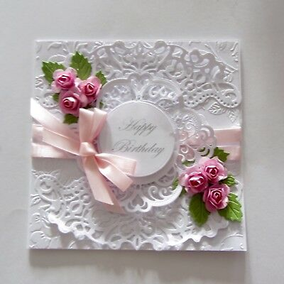Romantic Vintage Style Handmade Birthday Card Featuring Pink Roses, Lace Ribbon