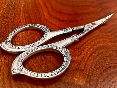 Foster & Bailey Sterling Silver Handled Manicure / Sewing Scissors Curved Blades