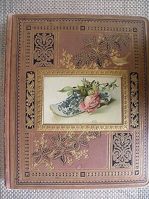 Victorian Trade Card 17 Page Scrapbook Late 1800's Plus Calling Cards & Die Cut