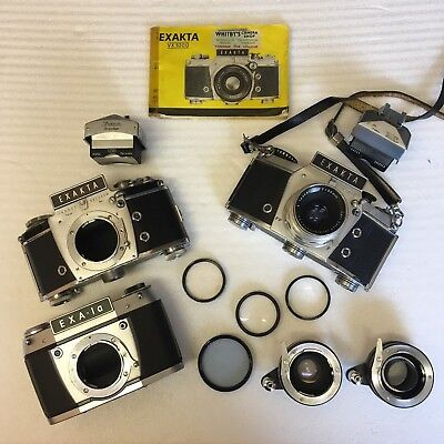 Job lot of Exakta Cameras - 3x bodies - 1x Carl Zeiss lens, + Tele-tubes & bag