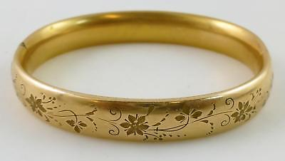 Gertrude F Stein Vintage Yellow Rolled Gold Hinged Bangle Bracelet