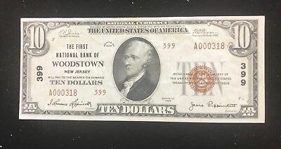 Woodstown New Jersey  first national bank of , 1929 type 2 AU/ Unc