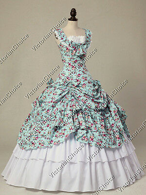 Victorian Southern Belle Dress Floral Gown Theater Reenactment Wear N 081 M
