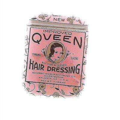 Queen Hair Dressing Tin  Sample Size Newbro Mfg Co Alanta Ga Drug Store